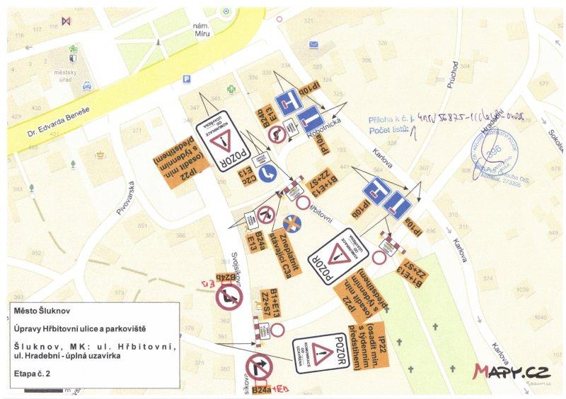 Oznámení o uzavírce ulic Hřbitovní a Hradební
