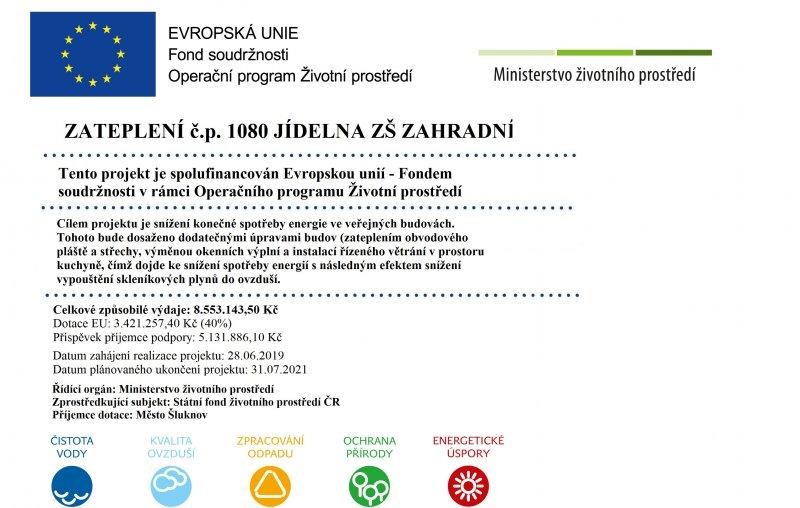 Zateplení č.p. 1080 jídelna ZŠ Zahradní