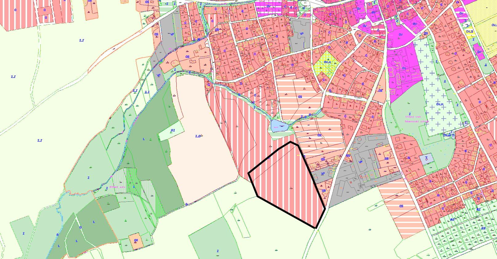 vymezení 1. etapy lokality JIHOZÁPAD v ÚP Šluknov