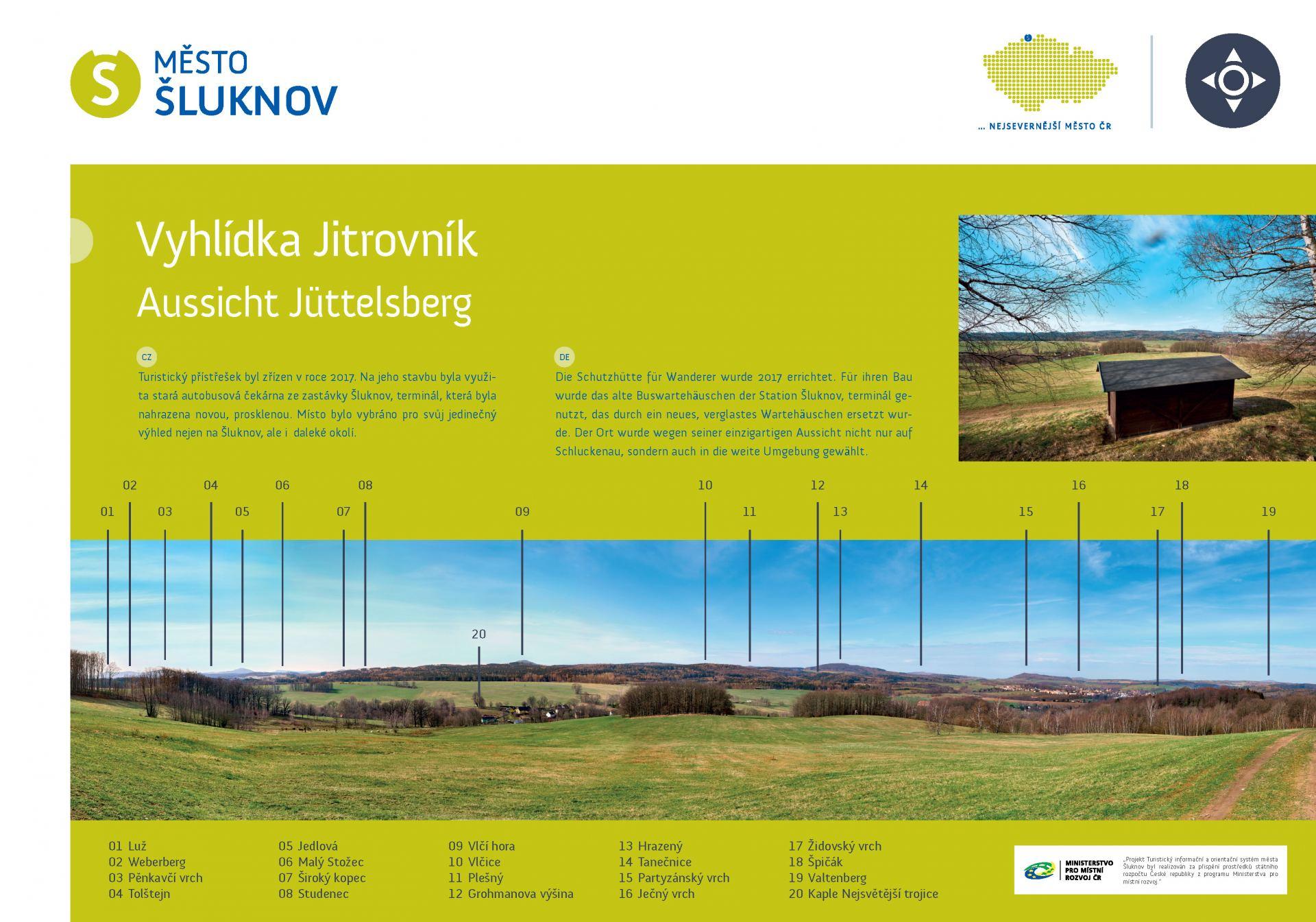 Informační tabule s panoramatem