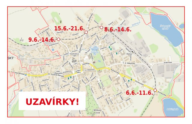 Uzavírky přejezdů na území města Šluknov