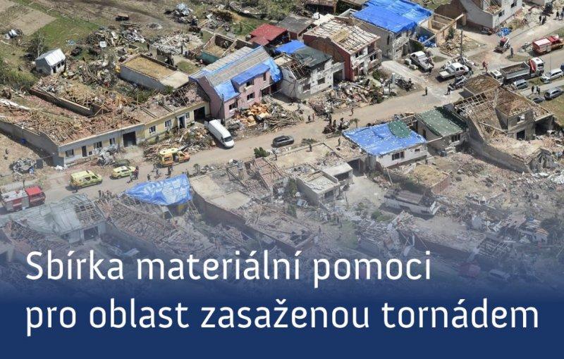 Sbírka materiální pomoci pro oblast zasaženou tornádem