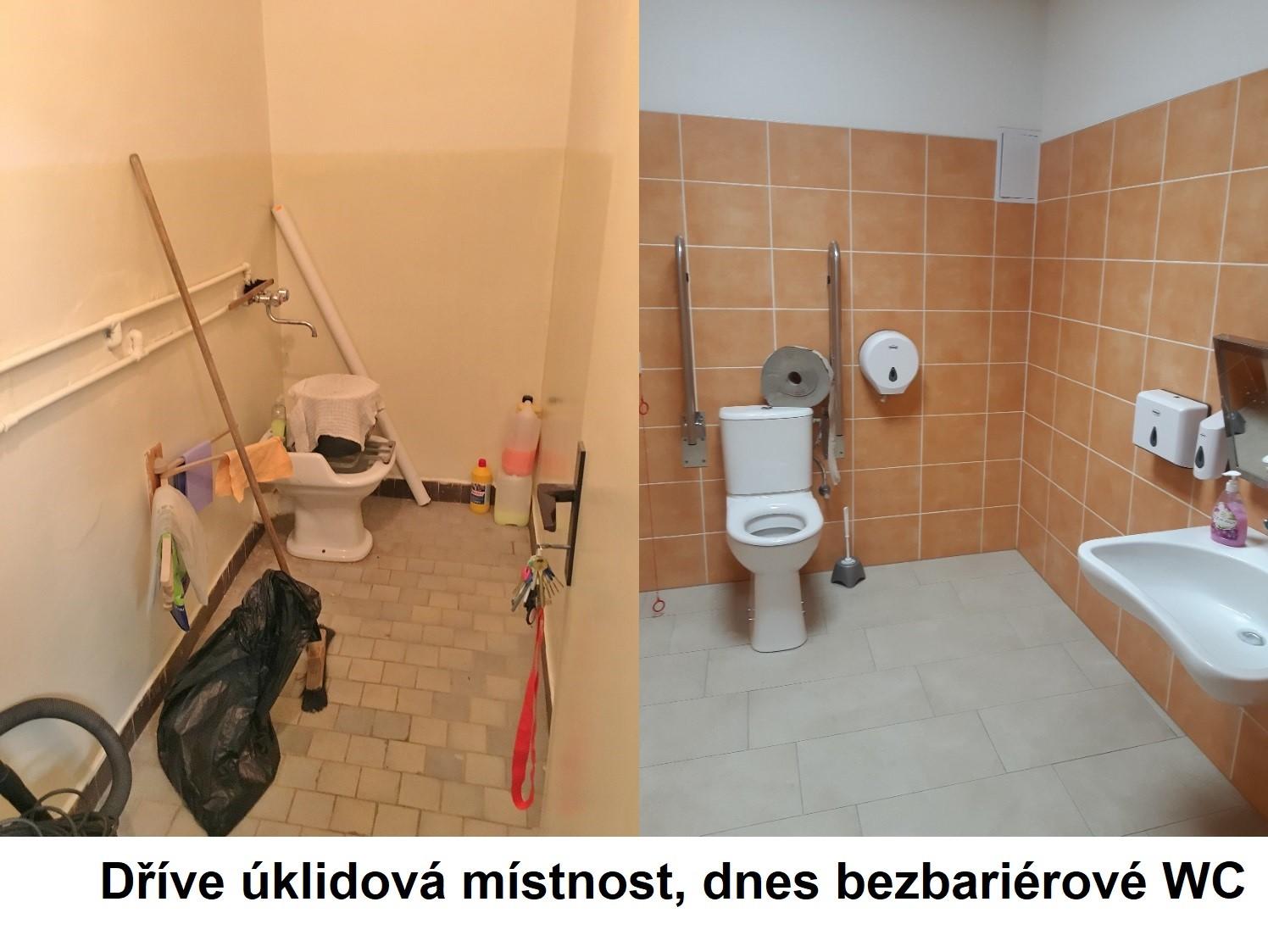 dříve úklidová místnost, dnes bezbariérové wc